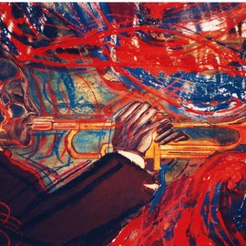 Barry Boobis: 'Wynton Marsalis Virtuosity', 2011 Acrylic Painting, Music. Artist Description:  Jazz trumpet great Wynton Marsalis declares his virtuosity through an explosion of abstract expressionism, blasting out of his trumpet!                               ...