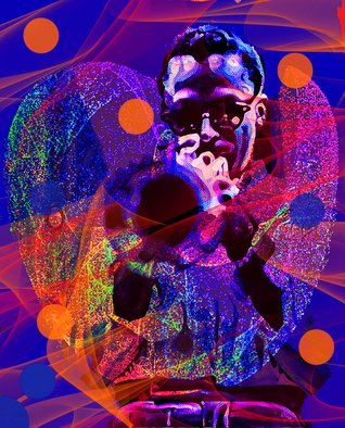 Barry Boobis: 'blue vibrations take 2 miles', 2016 Mixed Media, Music. 2nd Movement in Blue Vibrations series of jazz legend Miles Davis.  In your face  60 s Miles. . Ultra cool . . The blue vibrations swirl and take abstract forms emerging from the trumpet...