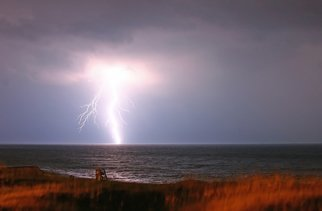 Barry Greff: 'Lghtning OBX', 2005 Color Photograph, Seascape. Artist Description: obxseascapeouter banksncnorth carolinalightningbeachnightlife guard stand...