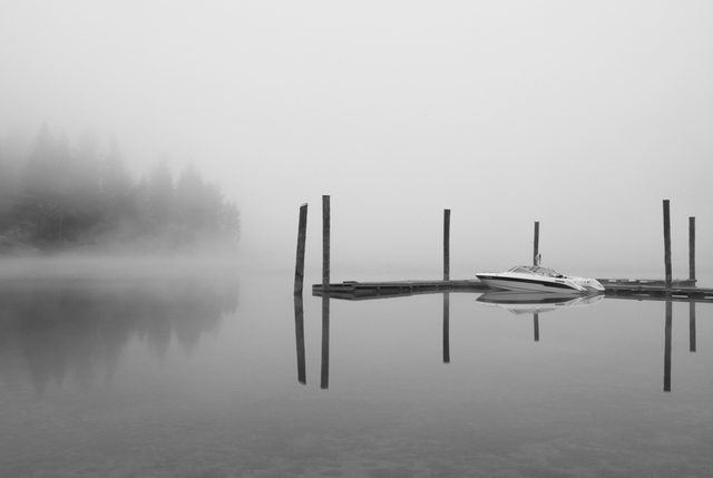 Barry Greff  'Reflection On Mystic Lake', created in 2010, Original Photography Black and White.