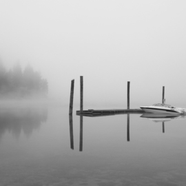 Barry Greff Artwork Reflection on Mystic Lake, 2010 Black and White Photograph, Scenic