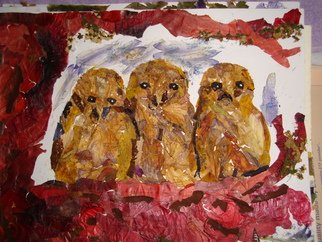 Basant Soni Artwork Owlets thinking not yet spotted, 2009 Collage, Animals