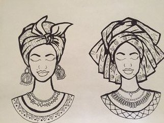 Bayan Baasher: 'african beauties', 2018 Pen Drawing, Beauty. Artist Description: Africa...