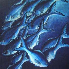 Susan Lewis: 'A Moment of Blue', 2006 Acrylic Painting, Fish. Artist Description: Many hues of blues, lavender, seagreenIrridescents in copper, silver and gold reflect from eyes, bellies, fins. Acrylic on wallboard...