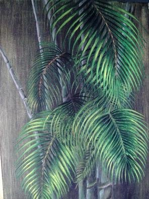 Susan Lewis Artwork Palm Leaves and Bamboo, 2006 Acrylic Painting, Botanical