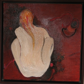 Becky Soria: 'Crouching', 2010 Oil Painting, Abstract Figurative. Artist Description:                from the series Body, Surface, Signs             ...