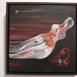 Becky Soria: 'Stone woman with bird', 2010 Oil Painting, Abstract Figurative. Artist Description:             from the series Body, Surface, Signs          ...