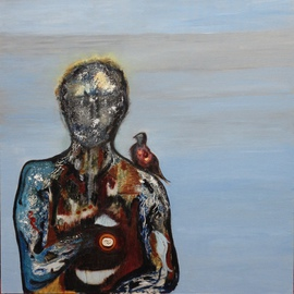 Becky Soria: 'Torso with bird', 2014 Acrylic Painting, Abstract Figurative. Artist Description:                  From the series