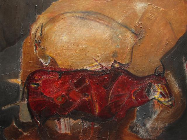 Becky Soria  ' Roca Y Rojo Rock And Red', created in 2012, Original Painting Other.