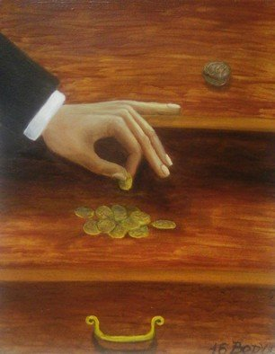 Dmitriy Belovolov: 'capital history', 2016 Oil Painting, Business. Artist Description: money, gold, coins, hands...