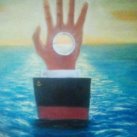 Dmitriy Belovolov: 'drieft 0', 2013 Oil Painting, Conceptual. Artist Description: boat, sea, blue deep, hands...