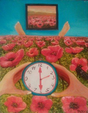 Dmitriy Belovolov: 'to wake up in macs', 2016 Oil Painting, Fantasy. Artist Description: synchronism, poppies, flowers, beddind, tv, bed, time, figures,     hands, watch...