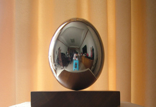 Steel Sculpture by Wenqin Chen titled: Standing Egg No1, 2009