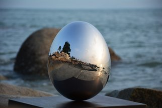 Steel Sculpture by Wenqin Chen titled: Standing Egg No2, 2009