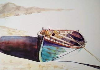 Volha Belevets: 'boat and sand', 2018 Watercolor, Marine.