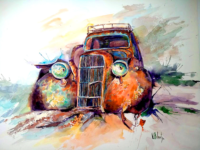 Volha Belevets  'Old Car', created in 2018, Original Watercolor.