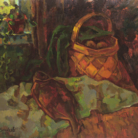 Sergey Belikov: 'still life with basket', 1983 Oil Painting, Still Life. Artist Description: Original oil painting on canvas, still life in impressionistic style with the view of basket and fish...