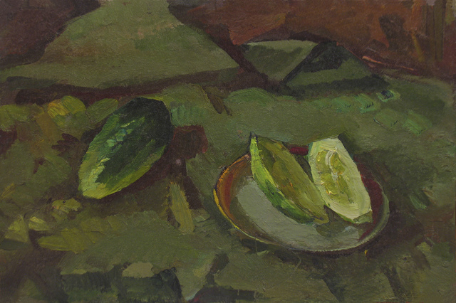 Sergey Belikov  'Still Life With Cucumbers', created in 1980, Original Painting Oil.