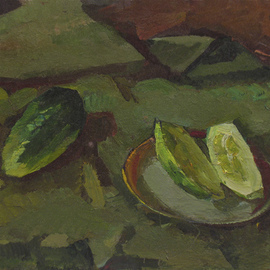 Sergey Belikov: 'still life with cucumbers', 1980 Oil Painting, Still Life. Artist Description: Original oil painting on cardboard, still life in impressionistic style with the cucumbers and plate...