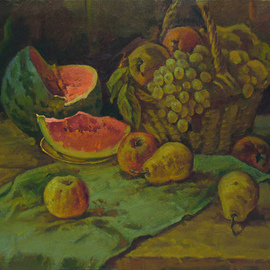 Sergey Belikov: 'still life with water melon', 1989 Oil Painting, Still Life. Artist Description: Original oil painting on canvas, still life in realistic style with water melon and fruits...