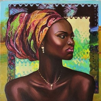 Svetlana Belova: 'gold of africa 3', 2020 Oil Painting, Ethnic. Portrait of a beautiful dark- skinned woman in a turban on an abstract background in the author s ethno- house style...