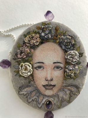 Evgenia Alexeeva: 'brooch pendant alpaca on silk', 2019 , Beauty. Artist Description: Hand embroidery, 925 sterling silver, satin ribbon, silk, hair pin brooch, amethyst natural, silk velvet, sample, creation on request ...