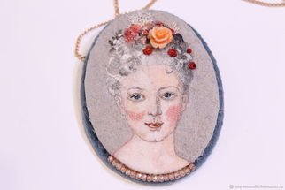 Evgenia Alexeeva: 'pendant portrait of catherine', 2019 , Beauty. Artist Description: Handmade silk embroidery, 	cubic zirconia, silk, cotton velvet, silk thread, coral carved, chain 585 gold, sample, creation on request...