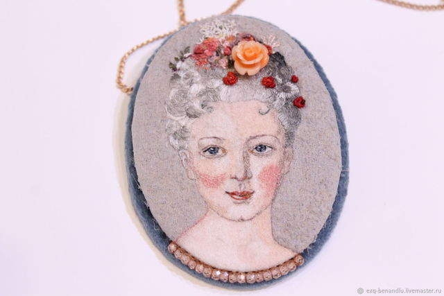 Evgenia Alexeeva  'Pendant Portrait Of Catherine', created in 2019, Original Wearable Art.