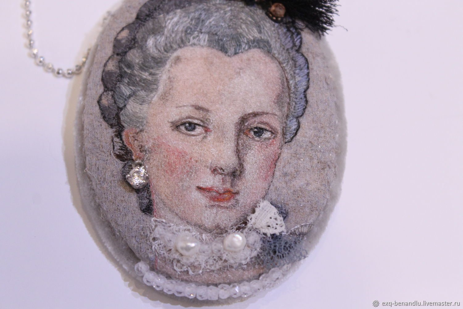 Evgenia Alexeeva: 'pendant portrait of maria', 2018 , Beauty. Artist Description: Handmade silk embroidery pearl, pyrite, cubic zirconia, silk, clasp for a brooch, sterling silver chain 925, silk velvet, cubic zirconia in 925 sterling, sample, creation on request...