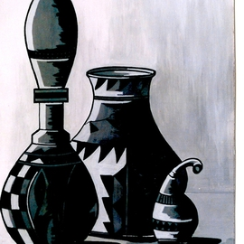 Benjamin Oppong -danquah: 'AFRICAN POTS', 2005 Acrylic Painting, Still Life. Artist Description:  Painting on canvas African pots, used by people in Ghana and Africa as a whole to store water and drinks by the chiefs and elders. This can also be done in a collage form and in different sizes. ...