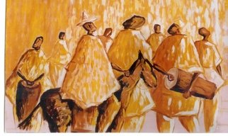 Benjamin Oppong -danquah: 'DAMBA FESTIVAL', 2006 Acrylic Painting, Religious.  Painting acrylic depicting Muslims celebrating the birth of Mohammed in the northern part of Ghana. They play drums and dance whilst the chief or the king sits on the horse to honour the occassion. This can be produced in collage art and oil painting. ...