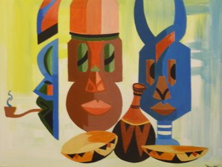 Benjamin Oppong -danquah: '   FACE  OF  AFRICA', 2006 Acrylic Painting, Ethnic.   This is painting depicting an inspiration from African masks where i put the idea into painting. These can be produced in different sizes   ...