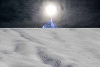 Bruno Paolo Benedetti: 'albedo the white work', 2013 Digital Photograph, Surrealism. Artist Description: albedo representation. The second step of the Alchemy, the white work, evolution called white work. Dream landscape with snow on foreground, rising blue pyramid on black horizon with sun and light reflections on surrounding clouds. Surrealism photography. Single copy printed on Kodak Endura metallic paper, signed and numbered ...
