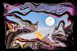 Bruno Paolo Benedetti: 'darkness dissolution', 2013 Digital Photograph, Surrealism. Artist Description: darkness dissolution, moon and clouds behind dissolving violet network in a surrealist landscape, surrealism photography. Fantasy subject wit meaning of evil defeat. Limited edition print 1 of 1 on Kodak Endura metallic paper. Keywords black, shades, sky, tones, violet, clouds, dissolution, dream, fantasy, landscape, moon, network...