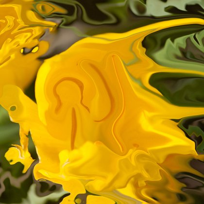 , Bright Yellow Shapes, Abstract, $1,785