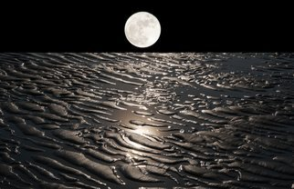 Bruno Paolo Benedetti: 'moon on earth with water', 2014 Color Photograph, Surrealism. Artist Description: moon on earth with receeding water. Dream landscape with moonlight reflections in the water among dunes. Limited edition prints 1 of 25 on Kodak Endura metallic paper. Keywords black, sky, water, reflections, dream, dunes, earth, landscape, receeding, moon, night...