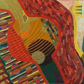 Ben Hotchkiss: 'Composition 2061', 1997 Oil Painting, Abstract. Artist Description: This is a painting that is part of a 14 by 18 series that I painted in the 1980s.  It is amongst my earliest oil paintings. ...