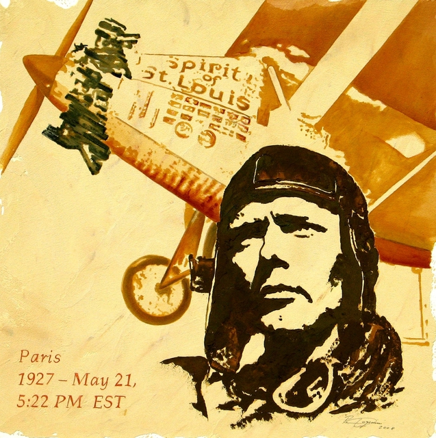 Benno Fognini  'Charles Lindbergh', created in 2008, Original Painting Acrylic.