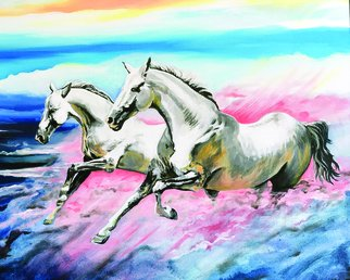 Phil Mokaraka Berry: 'horses at sunset', 2016 Acrylic Painting, Animals. Artist Description: Horses galloping in the clouds. ...