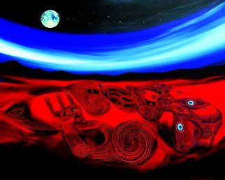 Phil Mokaraka Berry: 'papatuanuku mother earth', 2017 Acrylic Painting, Culture. Artist Description: This painting depicts Papatuanuku - mother earth by using imagery created and carved by our ancestors. ...