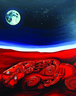 Phil Mokaraka Berry: 'papatuanuku mother earth 2', 2017 Acrylic Painting, Culture. Artist Description: Painting portrays Papatuanuku - mother earth by using imagery carved by our ancestors years ago.  ...