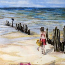 Ron Berry Artwork A Walk Among the Pilings, 2009 Pencil Drawing, Beach