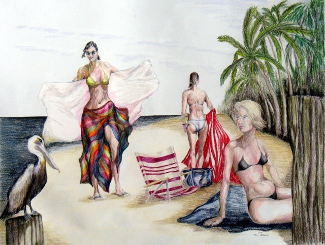 Ron Berry  'And Just Whose Beach Is This', created in 2011, Original Drawing Pencil.
