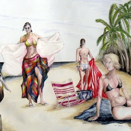 Ron Berry Artwork And Just Whose Beach is This, 2011 Pencil Drawing, Beach