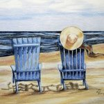 Blue Chairs and a Hat By Ron Berry