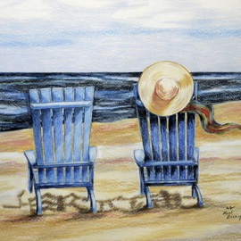 Ron Berry Artwork Blue Chairs and a Hat, 2014 Pencil Drawing, Beach