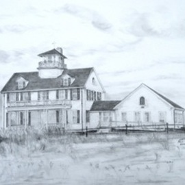 Ron Berry Artwork Coast Guard Station, Eastham, 2010 Pencil Drawing, Architecture