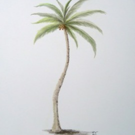 Ron Berry Artwork Coconut Palm 2, 2011 Pencil Drawing, Beach