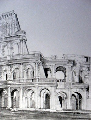 Pencil Drawing by Ron Berry titled: Colosseum, created in 2009