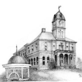 Ron Berry Artwork County Court House, 2004 Pencil Drawing, Architecture